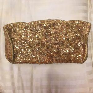 Vintage la regale gold sequin clutch